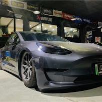 东莞车之坊施工 科技感和智能化特斯拉model3安装AIRBFT气动避震品牌套件细节实拍